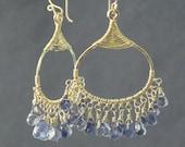 Iolite on filigree drop earring Kashmir 42