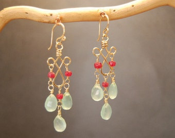 Pink ruby and sea blue chalcedony earrings Gypsy 65