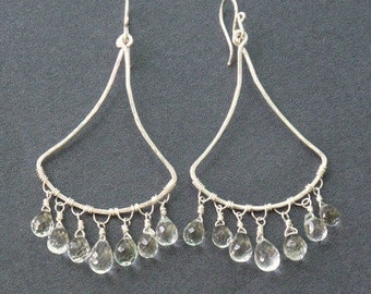 Hammered chandelier earrings with green amethyst Rio 59