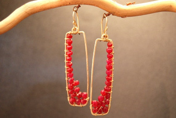 Hammered rectangles with Rubies Bohemian 80