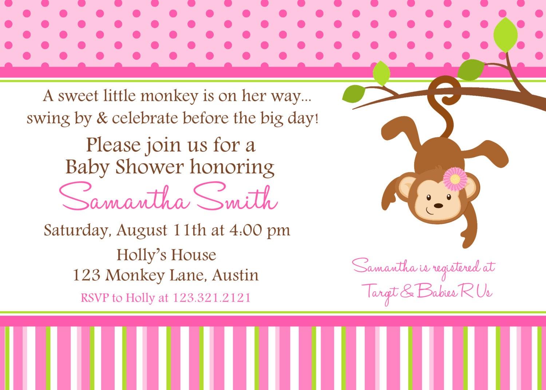 monkey baby shower printable invitation by lollipopink on etsy