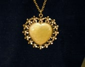 "Yellow Heart on Flower Motif Cabochon with Rhinestone Crystals - Antique Brass 28"" Chain With Lobster Clasp"