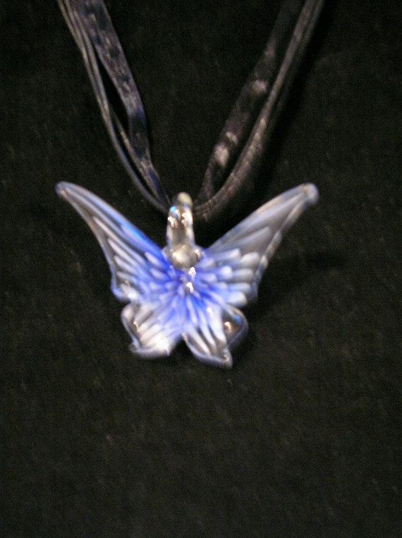 """Beautiful Blue Ice Murano Monarch Butterfly Lampwork - Black Ribbon/Cord 16.5"""" Necklace"""