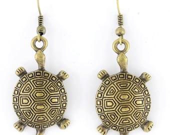 SIMPLE Gold-tone Baby Turtle Drop Dangle Earrings