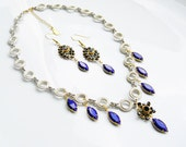 Vintage Glass Chic Necklace & 14kgf Earrings Set