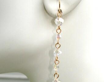 Crystal earrings, long earrings, gold earrings, gift for her, womans gift ideas, evening earrings, gold  jewelry, long crystal earrings