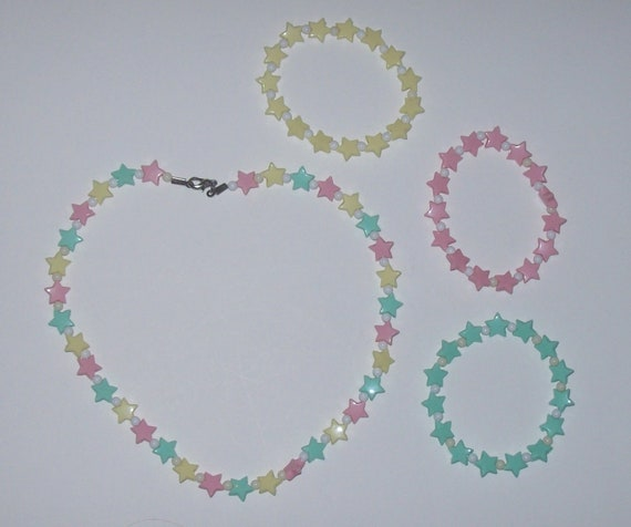 Pastel Stars Necklace and Bracelets Set - Fairy Kei / Kawwaii / Rave
