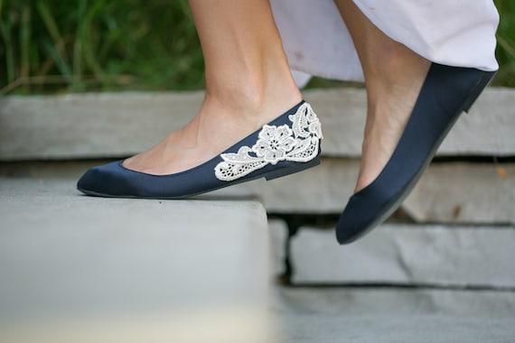 Wedding Flats Navy Blue Bridal Ballet By Walkinonair On Etsy