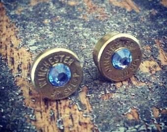 Bullet earrings light sapphire blue 38 special bullet brass casing shell ear rings shooter hunter outdoors gift