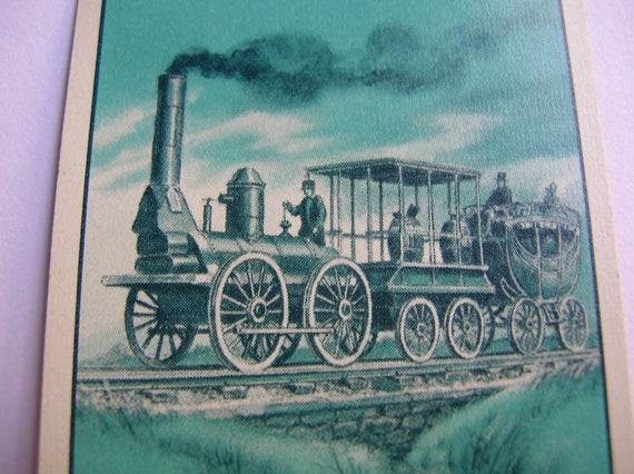 Vintage linen steam locomotive playing cards for crafts, ephemera,scrapbook,paper craft,mixed media,retro,train , engine