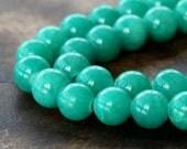 Mountain Jade Beads, Sea Green, 10mm Round - 15 Inch Strand - eMJR-G15-10