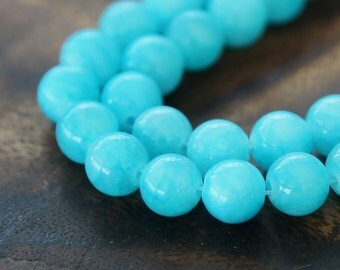 Mountain Jade Beads, Light Blue, 8mm Round - 15 Inch Strand - eMJR-B05-8