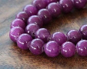 Mountain Jade Beads, Grape Purple, 6mm Round - 15 Inch Strand - eMJR-M11-6