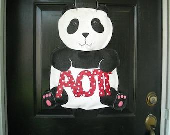 Burlap Panda Door Hanger