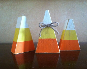 Wood Fall Candy Corn Block set - Seasonal Home Decor for fall, Halloween, and Thanksgiving decorating