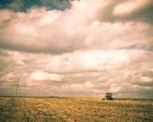 Harvest Time, Autumn harvest photograph, Harvester combine, Farming seagulls birds windmill, Canvas Photograph, Autumn sky, yellow orange