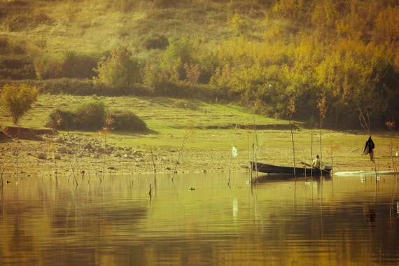 Fisherman Boat Photograph, Natural Reserve Lake, Autumn photography, green yellow orange naturals harvest 8x10 or 8x12