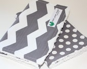 Gender neutral burp cloths, Chevron and dots.  Ready to Ship