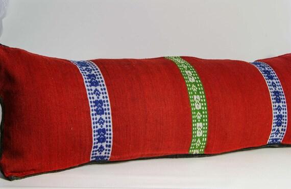 Long/Lumbar Pillow,  Red Pillow Case, Vintage Hand Woven/Embroidered Woolen Pillow Cover,