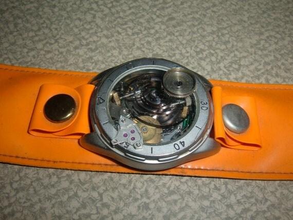 Steampunk Medallion Set in Bright Orange Band  Unisex Retro
