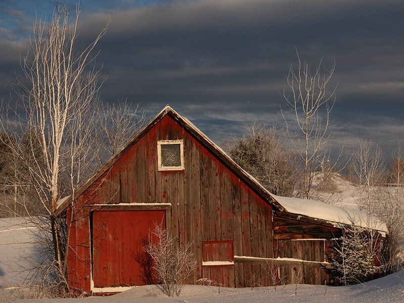 Barn Photography Red Barn In Maine Winter Snow Old Farm