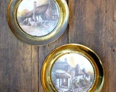 vintage brass wall prints English cottage scenes