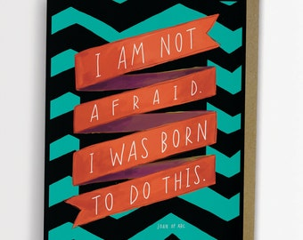 """Joan of Arc """"Born to Do This"""" Inspirational Quote Card Chevron Stripe Emily McDowell 162-C"""
