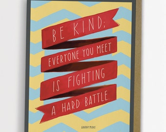 "Inspirational Quote Card ""Be Kind"" Hand Lettering by Emily McDowell 163-C"