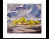 "STORM GLOW original watercolor painting, 5x5.5"""