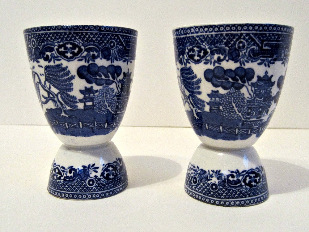 Antique English Blue Willow Double Egg Cups Ceramic Adams