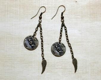 Antiqued  Bronze Earrings, Steampunk, Wing, Hippie Earrings