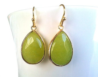Lime Apple Green Synthetic Stone Gold Earrings