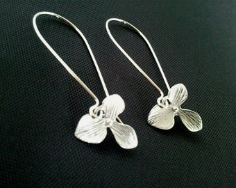 Orchid  Kidney Drop, Dangle, Earrings,bridesmaid gifts,Wedding jewelry Silver or Gold