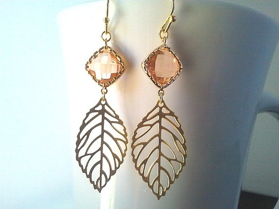 Autumn Leaves Peach Gold Earrings ,Drop, Dangle, jemstone Earrings, bridesmaid gifts,Wedding jewelry