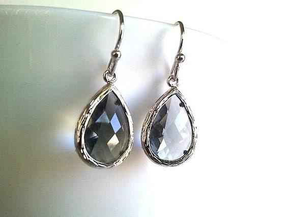 Gray teardrop wedding Earrings  ,Drop, Dangle, Glass Earrings, Gemstone,bridesmaid gifts,Wedding jewelry,christmas gift, cocktail jewelry