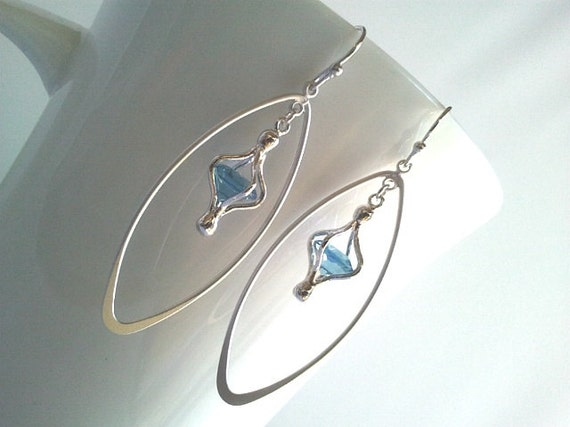 Magic lantern in Long silver tear drop Earrings - Simple, Everyday earrings, gift