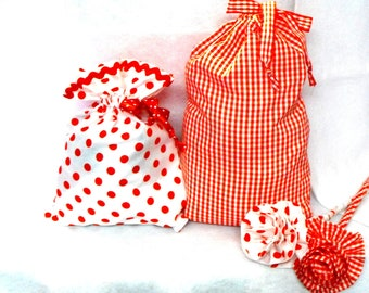 A set of two pretty drawstring bags-gift bags-travel bags-cosmetic bags
