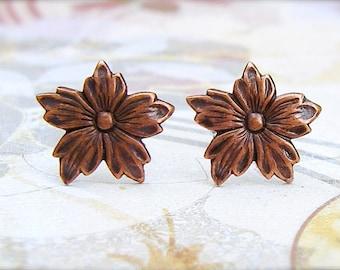 Antique Copper Bloom post earrings