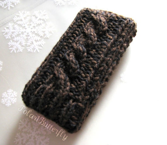 iPhone 5 case iPod Touch HTC Droid Incredible Smartphone mobile Blackberry Samsung bag in espresso brown and black heather, knit cables