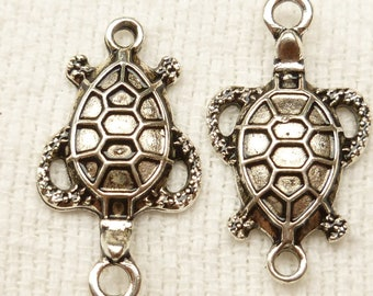 Sea Turtle Two Loop Connector Charm Pendant(4) - S73