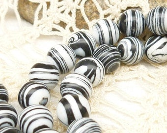 8mm Beautiful, Unique, Black and White Howlite Beads (10)
