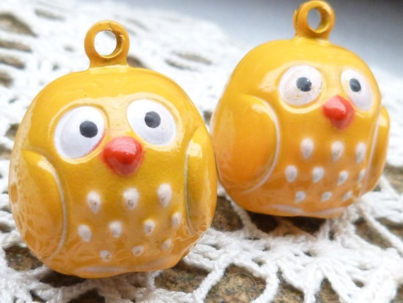 Baby Owl or Baby Chick Bell Charm (2)