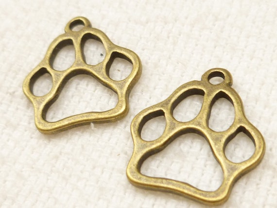 17mm Dog, Cat Paw Print Charms, Antique Bronze Tone (8) - A16