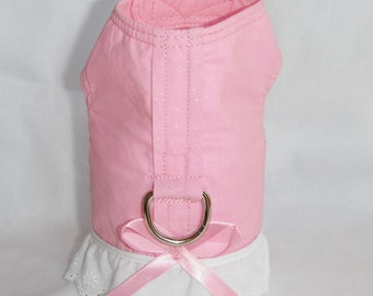 Dog Harness Pink Glitter Fabric W/Eyelet - Size XXS, XS, S, M (Made to order)