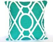 Pillow Turquoise Accent Pillow decorative pillow cover Trellis cushion cover