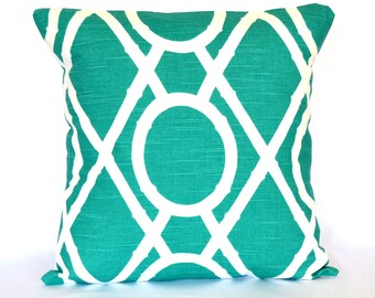 Pillow Turquoise Accent Pillow decorative pillow cover Trellis cushion cover