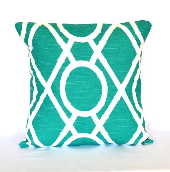Pillow turquoise accent pillow decorative pillow cover trellis for Turquoise decorative pillows