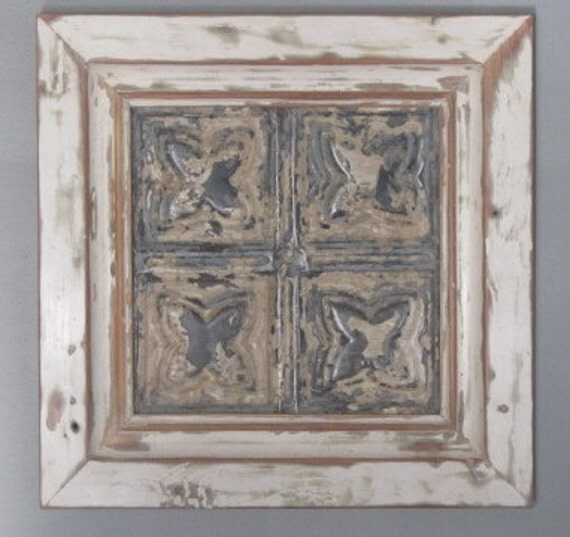 Framed Wall Decor - 19th Century Reclaimed Wood and Ceiling Tin
