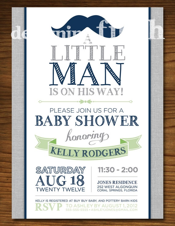 little man baby shower invitation with mustache vintage customizable