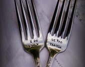 1 ((Bonus Sale)) Last Day Vintage silver plated hand stamped personalized custom wedding forks I DO ME TOO